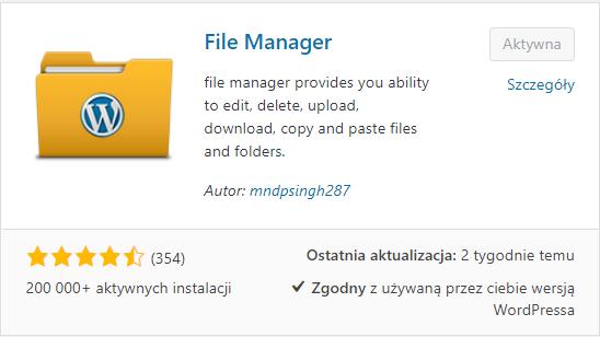 WP File Manager - wtyczka do zadań specjalnych